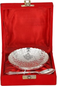 Taluka High Qualilty Silver Plated 1 Bowl Deep Dish 1 Spoon For Desert Bowl Spoon Set Gift Item Silver Plated Bowl