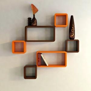 Decorasia Brown & Orange Cube Shape MDF Wall Shelf