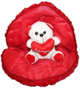 ToyHub Stuffed Spongy Hugable Cute Heart with Teddy Bear Cuddles Soft Toy For Kids Birthday / Return Gifts Girls Lovable Special Gift High Quality Small (Red Color)  - 30 cm