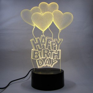 Varna Crafts LampeesTM 3D Illusion Happy BirthDay Balloons LED Lamp Night