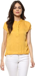 Mayra Casual Half Sleeve Solid Women's Yellow Top