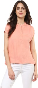 Mayra Casual Half Sleeve Solid Women's Pink Top