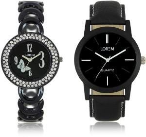 LEGENDDEAL New LR05-201 Exclsive Diamond Studed Black Best Stylish Combo Watch  - For Men & Women