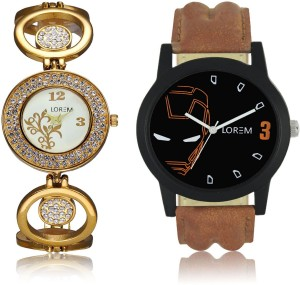 LEGENDDEAL New LR04-204 Exclsive Diamond Studed Gold Best Stylish Combo Watch  - For Men & Women