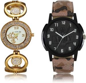 LEGENDDEAL New LR03-204 Exclsive Diamond Studed Gold Best Stylish Combo Watch  - For Men & Women