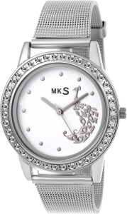 MKS hot peafowl look White Dial Watch  - For Girls