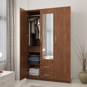 Ewood Cly Engineered Wood 3 Door Wardrobe Finish Color Brown Mirror Included