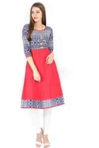 b122e7c8d64 Vishudh Solid Printed Women s Anarkali Kurta Red Best Price in India ...