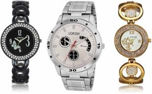 LegendDeal New LR08-201-204 Exclsive Diamond Studed Gold Best Stylish Combo Watch  - For Men & Women