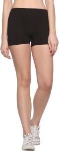 69Gal Solid Women Black Compression Shorts