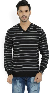 Allen Solly Striped V-neck Casual Men's Black, Grey Sweater
