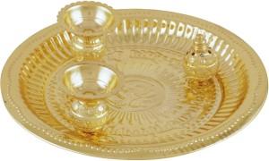 ellegent desginer brass puja thali brass pooja thali set 1 pieces gold
