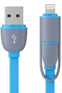 Digimart 2in1 2.1A Fast Charging Data Cable for Lightning 8 Pin & Android Micro V8 USB Cable