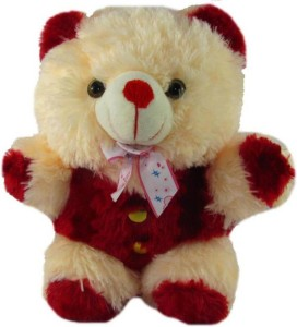 aparnas CUTE LOOKING CREAM AND RED TEDDY BEAR SOFT TOY FOR KIDS BIRTHDAY GIFT LOVE GIRL  - 70 cm
