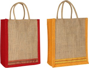 Styles Creation Combo Red & Yellow Lunch Jute Bag Waterproof Lunch Bag