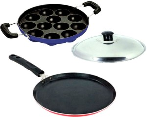 Lavelle Kitchen 4mm Mercury Non-Induction Non-Stick Economy Dosa tawa & Blue 12 pit Appam Patra Tawa, Pan Set