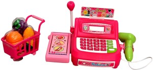 Sunshine Gifting Supermarket Shopping Cash Register Play Set, With Barcode  Scanner { PINK }