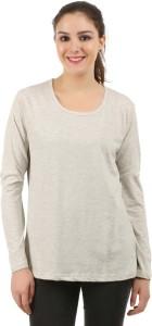 MIDAAS Solid Women's Round Neck Grey T-Shirt