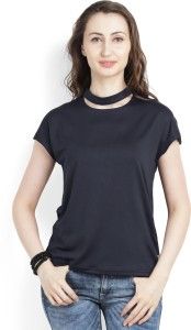 United Colors of Benetton Casual Short Sleeve Solid Women's Dark Blue Top