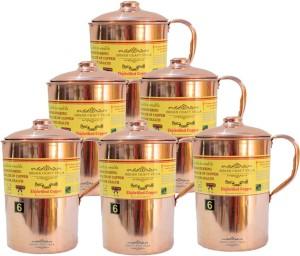 Indian Craft Villa Handmade 100% Pure Copper Set Of 6 Jug Pitcher Volume 2.1 Liter storage drinking Water Good Health Benefits Indian Yoga, Ayurveda Water Jug