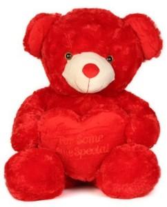 aparnas Cute looking red happy birthday teddybear stuffed soft plush toy for kids love girl2foot  - 60 cm