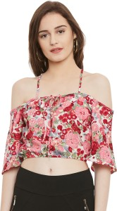 Popnetic Casual Half Sleeve Floral Print Women's Red Top