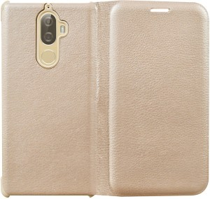 new styles 6abe6 7e93a COVERNEW Flip Cover for Lenovo K8 PlusGolden, Artificial Leather, Plastic