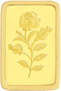 Malabar Gold and Diamonds Rose Impression 24 (9999) K 1 g Yellow Gold Bar