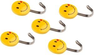 HOKIPO Self Adhesive Smiley 5 Pieces, Load Capacity 0.5kg 0 - Pronged Hook