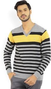 Izod Striped V-neck Casual Men's Black, Grey Sweater
