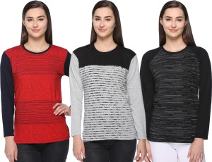 69GAL Striped Women Round Neck Multicolor T-Shirt