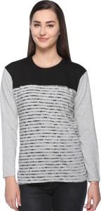 69GAL Striped Women Round Neck Black, Grey T-Shirt