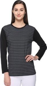 69GAL Striped Women Round Neck Black T-Shirt