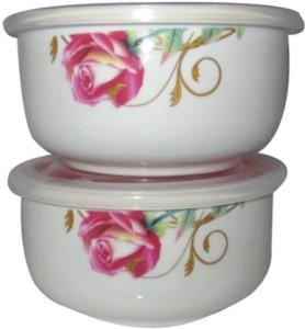 Megalite Ceramic Bowl Set (White, Pack of 2) Ceramic Bowl Set
