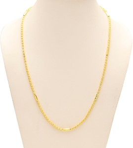 cf37c861e43 Memoir Brass Gold Ball and link, tube design thick stylish Fashion dailyuse Chain  necklace Men Women 24K Yellow Gold Plated Brass Chain
