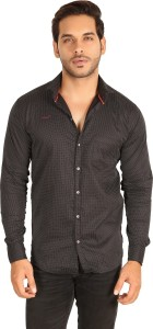 Mesh Men's Polka Print Casual Black Shirt