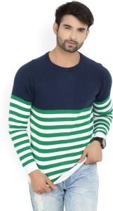 United Colors of Benetton. Striped Crew Neck Casual Men's Dark Blue Sweater
