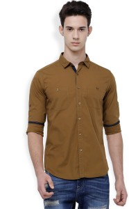 Highlander Men's Solid Casual Beige Shirt