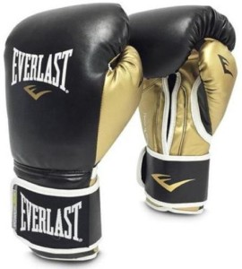 Everlast Pro Style PowerLock Unfilled Boxing Gloves (L, Black, Gold)