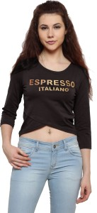 Espresso Casual 3/4th Sleeve Printed Women Brown Top