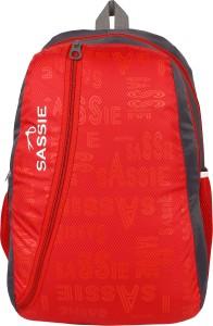 SASSIE RED AND GREY SCHOOL BAG Waterproof Backpack