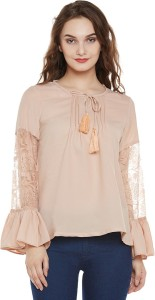 Miss Chase Casual Full Sleeve Solid Women's Beige Top