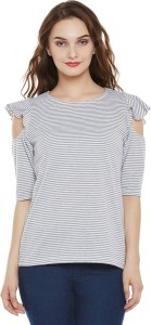 Miss Chase Casual Half Sleeve Striped Women's Grey, White Top