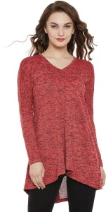 Miss Chase Casual Full Sleeve Solid Women's Pink Top
