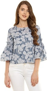 Miss Chase Casual 3/4th Sleeve Printed Women's Blue, White Top