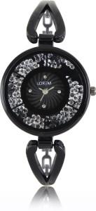 LOREM New LR211 Black Metal Diamond Studed Bracelet Women Watch  - For Girls