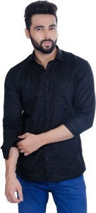 5TH ANFOLD Men Solid Casual Black Shirt
