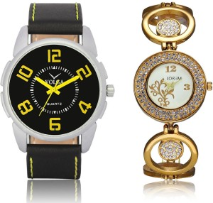Volga VL25LR204 New Exclusive Collection Leather-Metal Diamond Studed Strap-Belt Mens Watches Best Offer Combo Watch  - For Boys