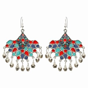 9a00772d5 FreshVibes Flying Bird Afghan Earrings for Women in Red and Blue Colour  Afghani Tribal Style Boho