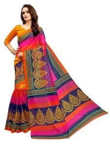Fabland Printed Bhagalpuri Art Silk, Cotton Saree